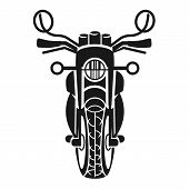Classic Motorcycle Front View Icon. Simple Illustration Of Classic Motorcycle Front View Vector Icon poster