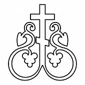 Cross Vine Cross Monogram Symbol Secret Communion Sign Religious Cross Anchors Icon Black Color Outl poster