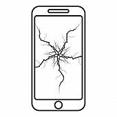 Smartphone With Crack On Display Broken Modern Mobile Phone Shattered Smartphone Screen Phone With B poster