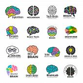 Brain Logotypes. Business Concept Of Colored Smart Mind Innovation Creative Vector Colored Symbols.  poster