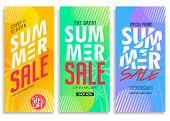 Summer Sale Vertical Pull Up Banner Set With Bright Vivid Gradient Background, Patterns, Stylish Tex poster