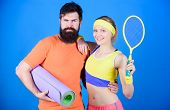 Man And Woman Couple In Love With Yoga Mat And Sport Equipment. Fitness Exercises. Workout And Fitne poster
