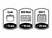 Cook Minutes Vector Icon. 5, 10 And 20 Minutes Cooking In Boiling Saucepan, Microwave Watt And Oven  poster