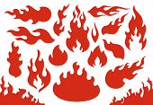 Blazing Fire Flames. Flaming Red Wildfire Fiery Or Racing Flame. Blazing Hell Inferno Fire Icons Ill poster