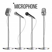 Microphone Set With Stand Vector. Music Icon. Vintage Concert. Modern And Retro. Audio Communication poster
