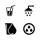 Water Drop, Aqua, Liquid. Simple Related Vector Icons Set For Video, Mobile Apps, Web Sites, Print P poster