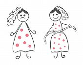 Stick Figure Of A Girl Before And After Weight Loss. Women Measure Their Waist After Weight Loss Vec poster