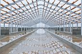 Wooden Beams On A Metal Frame. Construction Of Agricultural Buildings. The Construction Of The Barn  poster