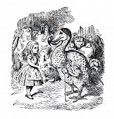 Alice and the Dodo. Engraving by John Tenniel (United Kingdom, 1872). Illustration from book