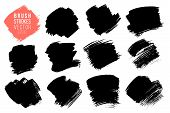 Vector Set Of Big Hand Drawn Brush Strokes, Stains For Backdrops. Monochrome Design Elements Set. On poster