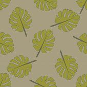 Vintage Monstera Leaves Seamless Pattern, Great Design For Any Purposes. Beauty, Style, Fashion Desi poster