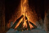 Burning Fire In The Fireplace. Wood And Embers In The Fireplace Detailed Fire Background. A Fire Bur poster