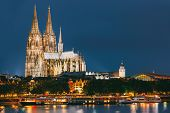 Night View Of Cologne Cathedral, Germany. Europe. World Heritage - A Roman Catholic Gothic Cathedral poster