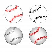 Isolated Baseball Set. Baseball Balls. Baseball Elements. Flat Design. poster