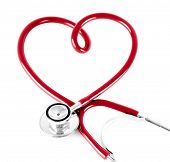 stock photo of veterinary clinic  - stethoscope in shape of heart - JPG