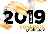 Congratulations Graduates Class Of 2019 Vector Logo. Graduation Background Template. Greeting Banner poster