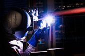 Welding Steel Pipe With Mig-mag Method For Industrial Work. Gas Metal Arc Welding poster