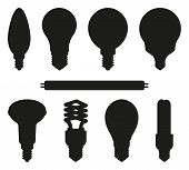 Black And White Light Bulb Silhouette Set. Incandescent, Fluorescent, Halogen Lamp And Neon Tube. El poster
