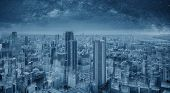 Futuristic Blue Smart City At Night, Starry Sky. Smart City And Technology Background poster