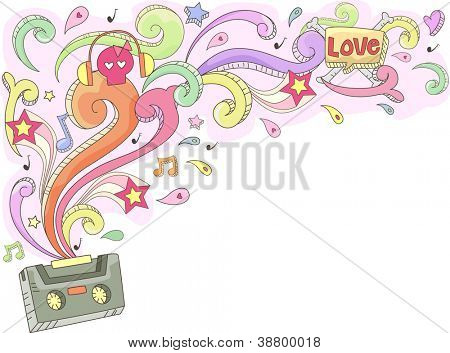 Doodle Illustration Featuring a Casette Tape Spouting Colorful Swirls