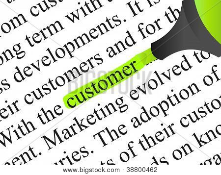 High resolution concept or conceptual abstract black text isolated on white paper background with green marker as a metaphor for customer,target,marketing,client,service,strategy,business or consumer