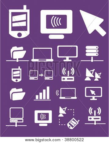 communication icons set, vector