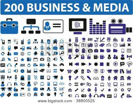 200 business & media, blue color icons set, vector