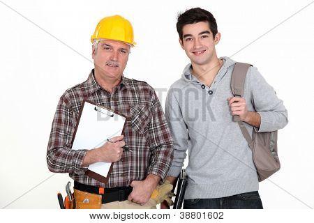 Builder welcoming trainee