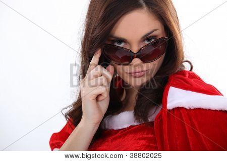 sexy Mutter Weihnachten mit Sonnenbrille