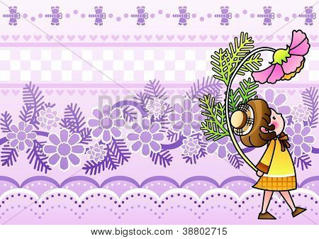 Autumnal Fairy Tale - walking on the romantic garden with a lovely cute young child and a beautiful pink flower on a purple background of floral patterns : vector illustration