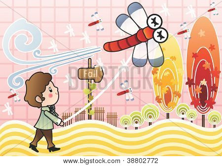Beautiful Autumn Scenery - walking a cute young boy with a red dragonfly and colorful circle trees in romantic garden on a pink check background : vector illustration