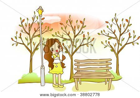 Beautiful Autumn Flavor - enjoying a lovely young girl with colorful trees in romantic garden