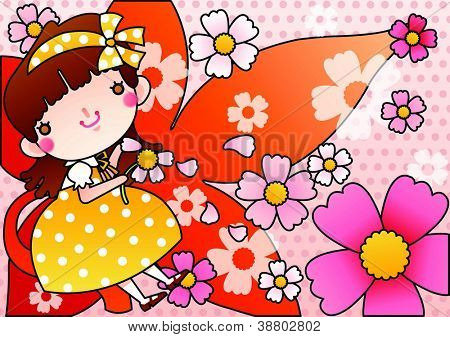 Beautiful Floral Festival and Cute Fairy - enjoying an lovely young girl with petals in romantic garden on a pink background of dotted patterns : vector illustration