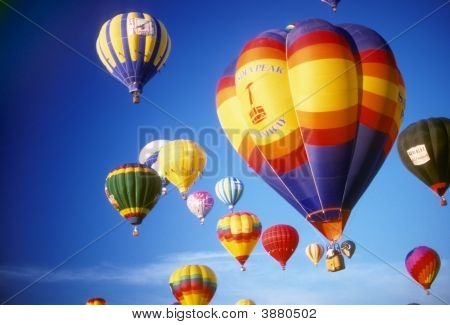 Hot Air Balloons Agaisnt Blue Sky