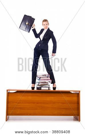 Dominant woman boss standing on desk