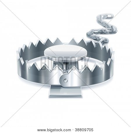 metallic trap vector illustration isolated on white background EPS10. Transparent objects and opacity masks used for shadows and lights drawing