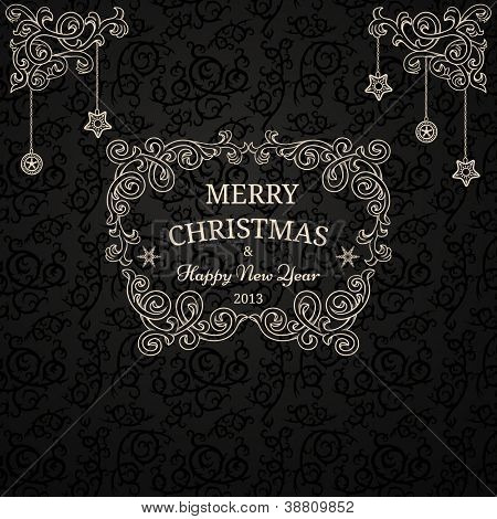 Luxury Christmas card on black pattern