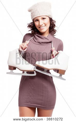 beautiful happy young woman going ice-skating, isolated against white background