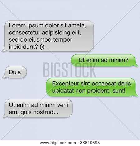 Vector phone chat bubbles with blank text. Sms messages. Speech bubbles. Short message service bubbles.