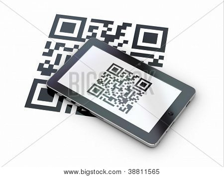 Tablet pc scanning qr code on white background. 3d