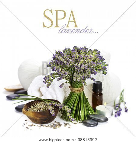 lavender spa (fresh lavender flowers, towel, essential oil, pebbles, Herbal massage balls) over white  (with easy removable text)