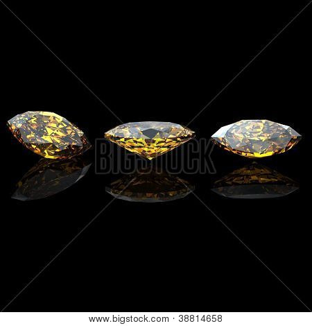 Marquis. Citrine. Collections of jewelry gems on black