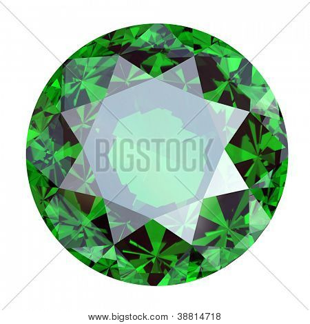 Round Gemstone isolated. emerald. peridot