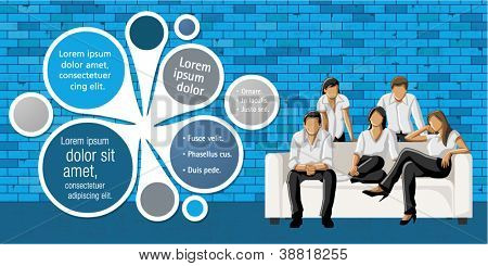 Blue template for advertising brochure with business people in front of blue brick wall