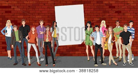Group of cartoon teenagers in front of red brick wall background