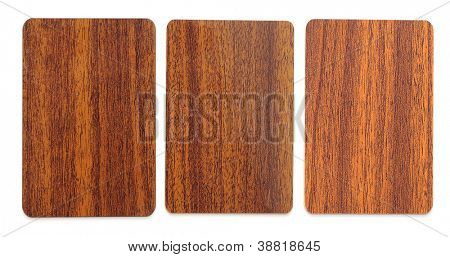 collection of wooden plastic card blanks on white background