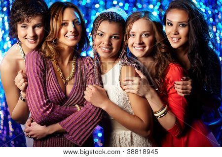 Happy female friends enjoying themselves at a bridal party