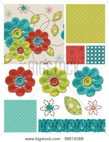 Crochet Flower Seamless Patterns and Elements.