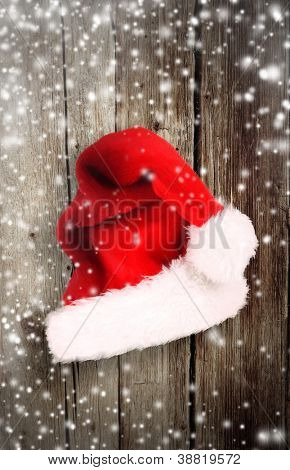 Old wood with santa cap