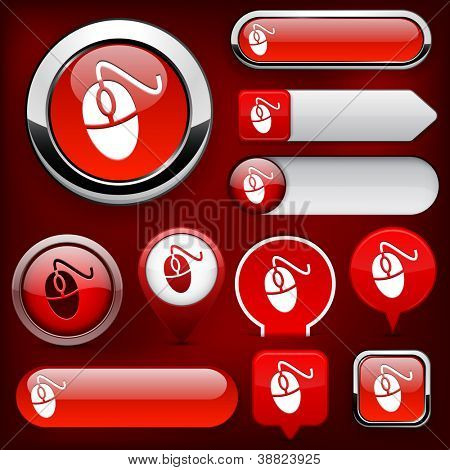 Mouse red design elements for website or app. Vector eps10.
